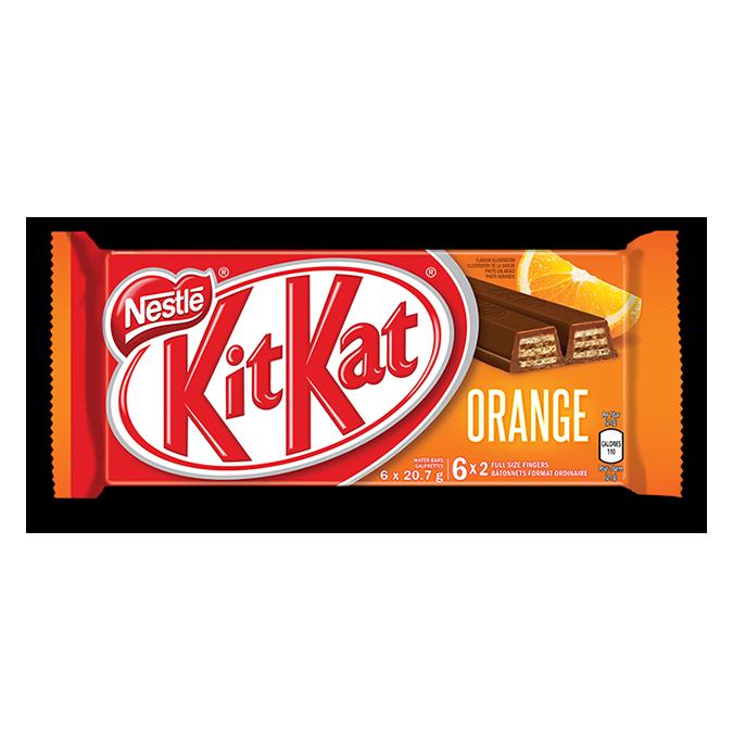 KIT KAT Chocolate Orange Bar, multipack, 6 x 20.7 grams.