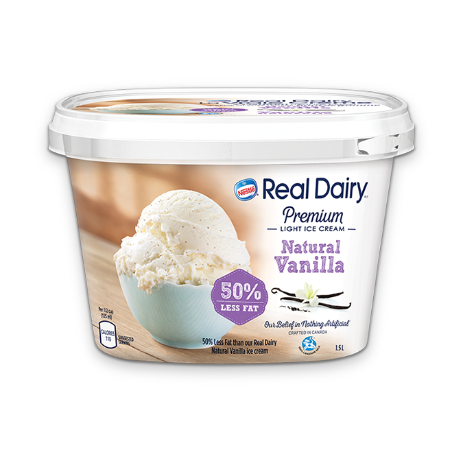 REAL DAIRY 50% Less Fat Natural Vanilla Ice Cream, 1.5 Litre.
