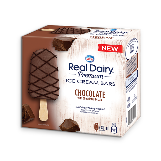 REAL DAIRY Chocolate Ice Cream Bars, 5 x 80 grames.