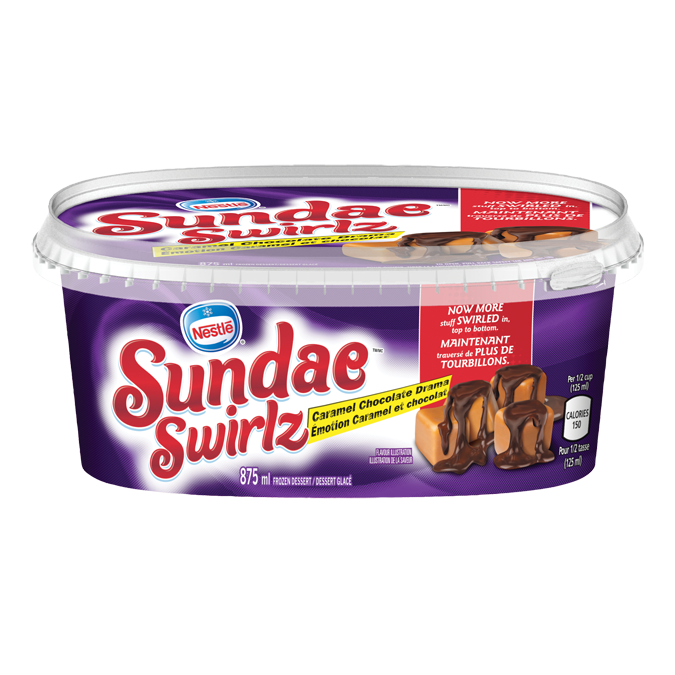 SUNDAE SWIRLZ Caramel Chocolate Drama Ice Cream, 875 ml.