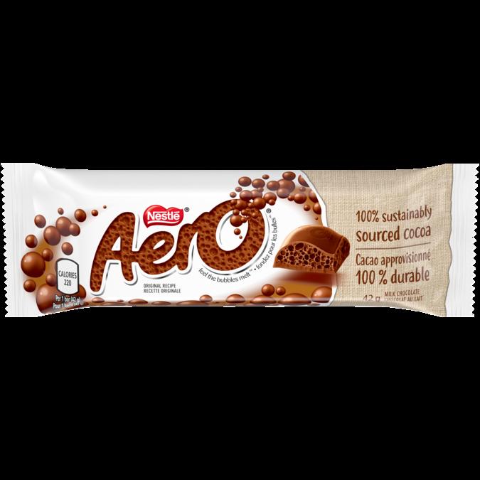 AERO Milk Chocolate Bubble Bar, 42 grams.