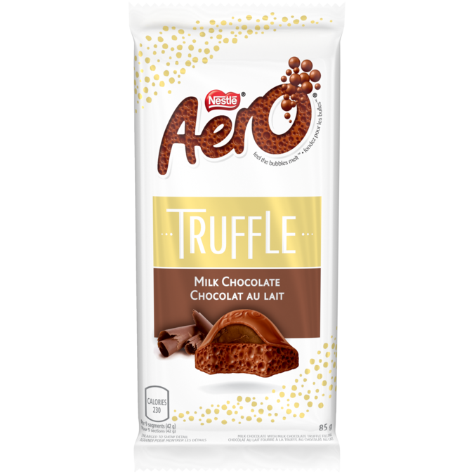 Barre de truffe au chocolat au lait AERO, 85 grammes.