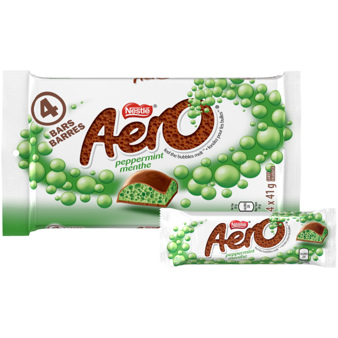 AERO Chocolate Peppermint Bars, multipack, 4 x 41 grams.