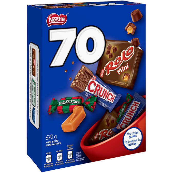 Tablettes de chocolat assorties NESTLÉ, 70 unités, 670 grammes.