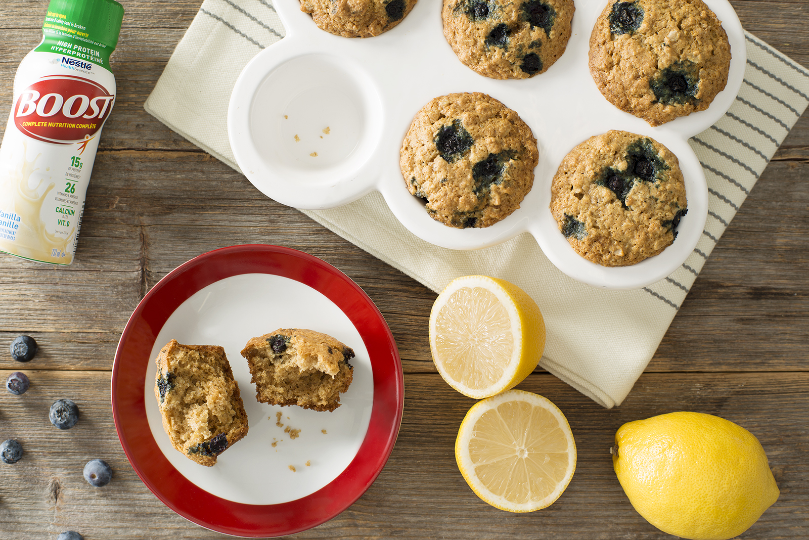 Boost High Protein Lemon Blueberry Oatmeal Muffins