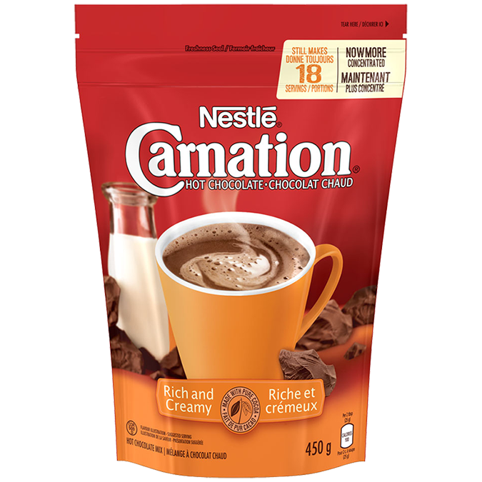 CARNATION Hot Chocolate Rich and Creamy Powder, 450 grams.