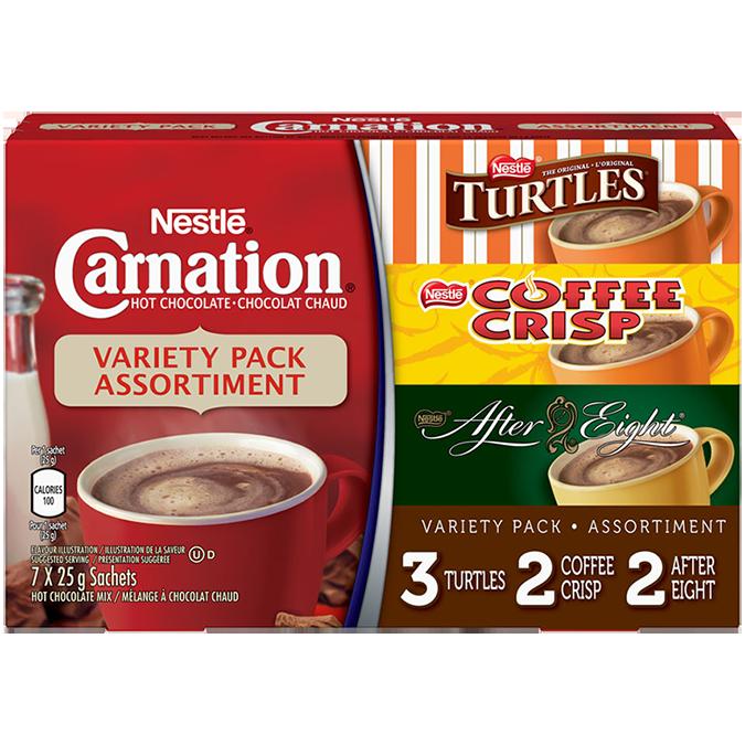 CARNATION Flavoured Hot Chocolate Powder Variety Pack, 7 x 25 g sachets.