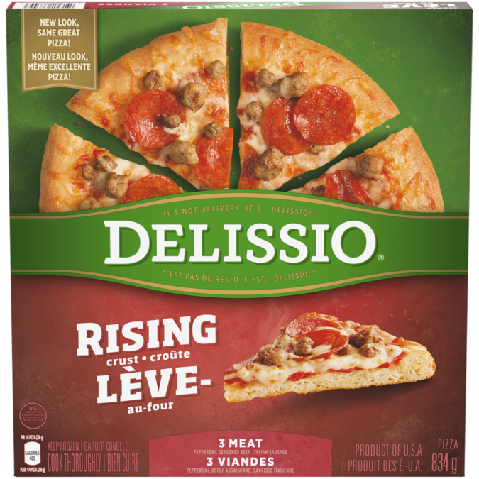 DELISSIO Rising Crust 3 Meat Pizza, 834 grams.