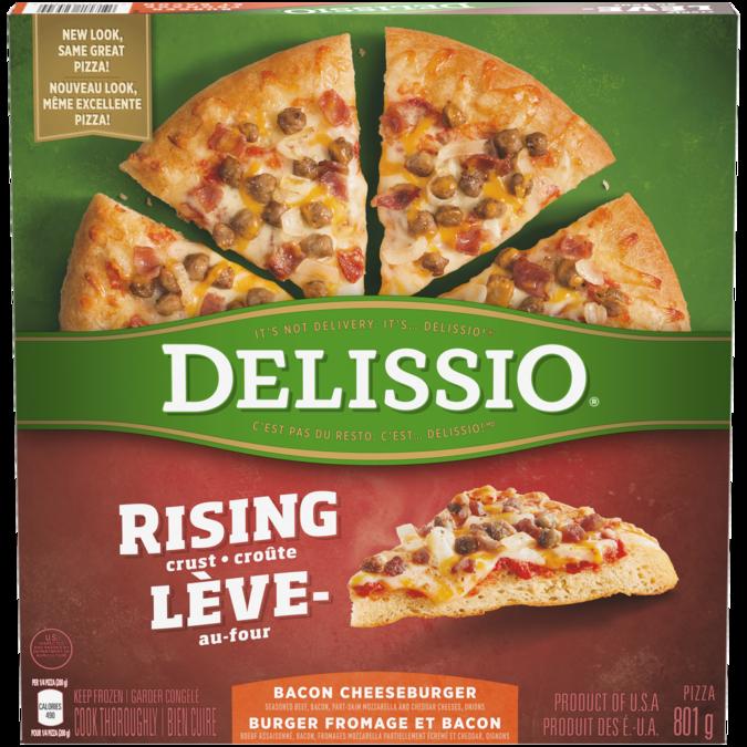 DELISSIO Rising Crust Bacon Cheeseburger Pizza, 801 grams.