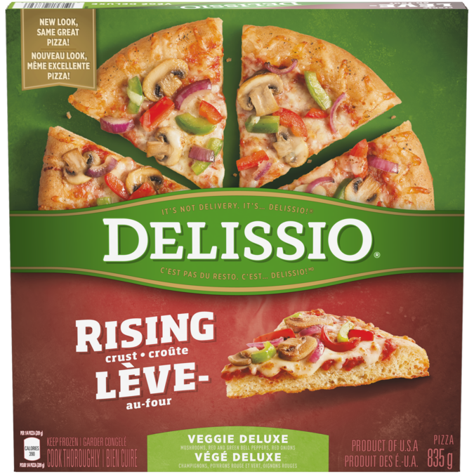 DELISSIO Rising Crust Deluxe Pizza, 835 grams.