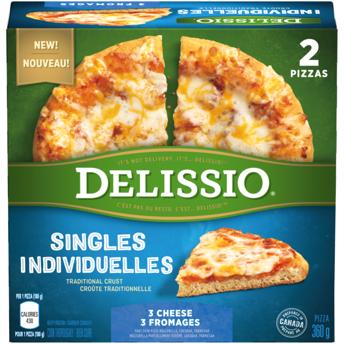 DELISSIO Singles 3 Cheese Pizza, 2 x 180 gram portions.