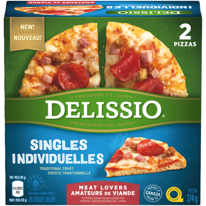 DELISSIO Singles Meat Lovers Pizza, 2 x 187 grams.