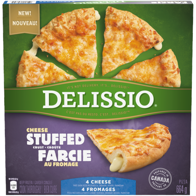 DELISSIO Stuffed Crust 4 Cheese pizza, 664 grams.