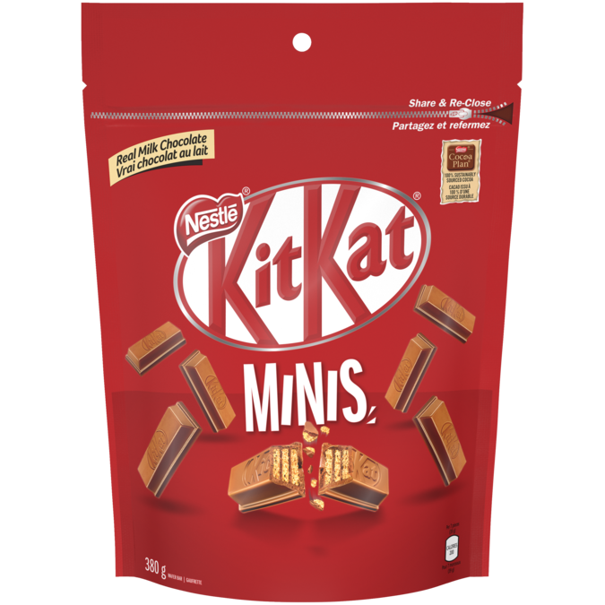 KIT KAT Chocolate Minis, sachet refermable, 380 grammes.