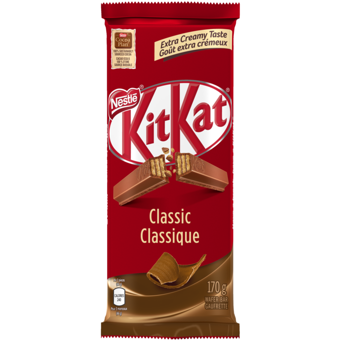 KIT KAT Classic Milk Chocolate Bar, 170 grams.