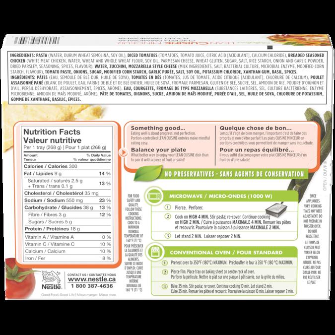 LEAN CUISINE Poulet Parmigiana, ingrédients et informations nutritionnelles.