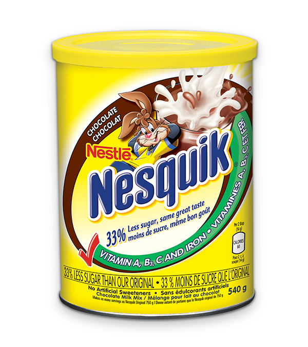 Chocolate NESQUICK with 33 percent less sugar, 540 grams.