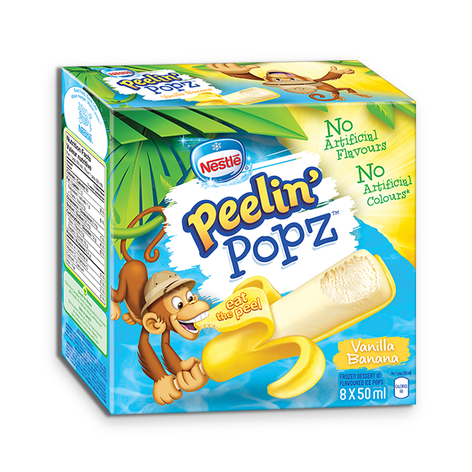 PEELIN' POPZ Vanilla Banana Frozen Ice Pops, Multipack, 8 x 50 ml.