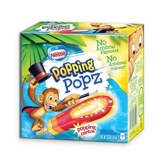 POPPING POPZ Frozen Ice Pops, Multipack, 8 x 50 ml