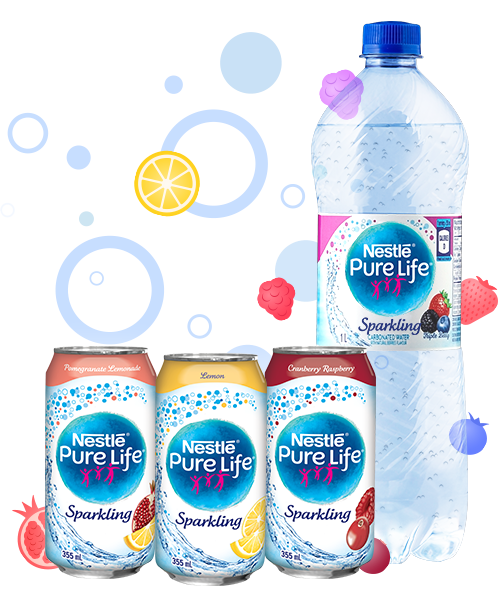 Image of Nestlé Pure Life Sparkling new flavours: Pomegranite Lemonade, Lemon and Cranberry Raspberry