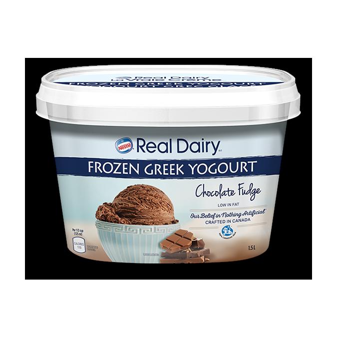 Real Dairy Frozen Greek Yogourt Chocolate Fudge Madewithnestle Ca