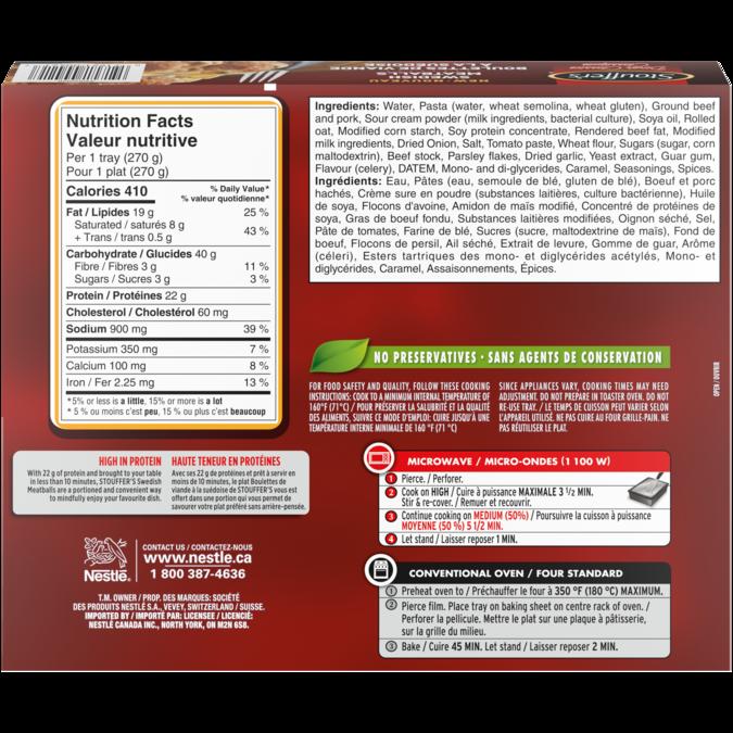 STOUFFER'S Swedich Meatballs Ingrédients et information nutritionnelle