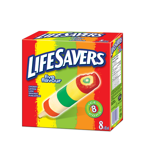 LIFESAVERS Cherry, Lemon, Lime, Orange, and Pineapple-flavoured ice pop. 8 x 65 ml portions.