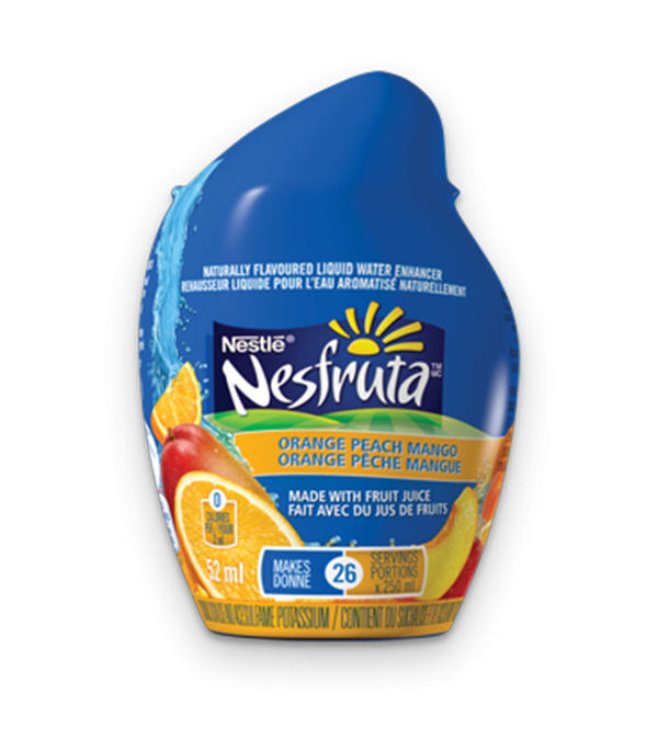 NESFRUTA Orange Peach Mango, Naturally Flavoured Liquid Water Enhancer, 52ml makes 26 servings.