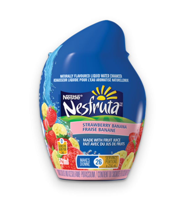 NESFRUTA Strawberry Banana, Naturally Falvoured Liquid Water Enhancer. 52ml makes 26 servings.