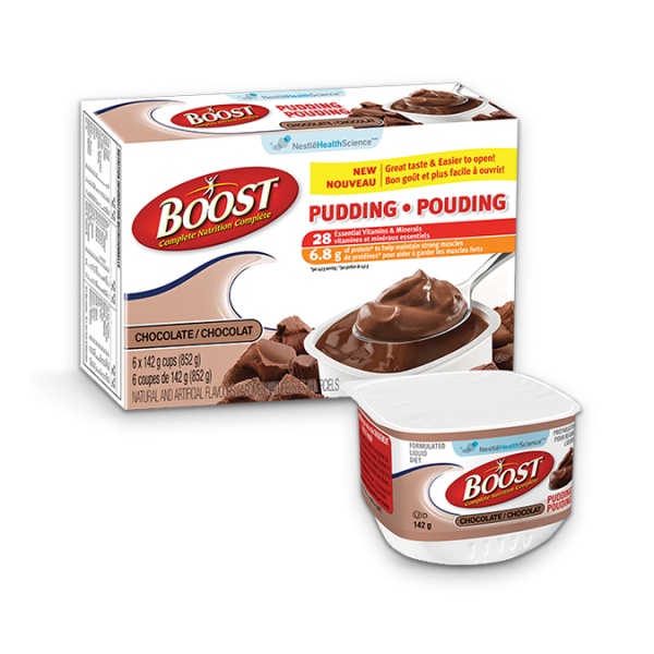 BOOST Chocolate Pudding, 6 tasses de 142 grammes.