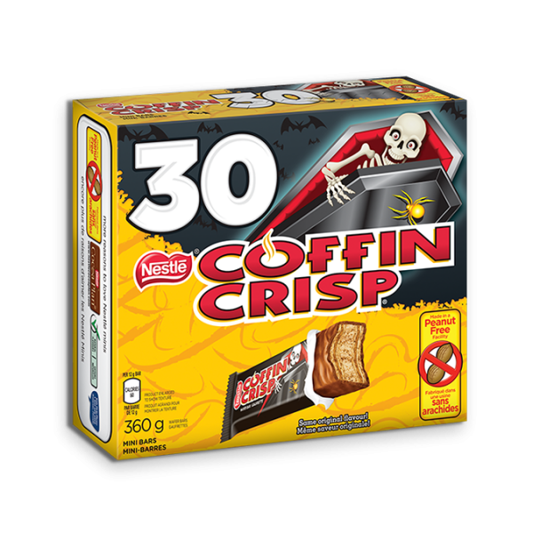 COFFIN CRISP chocolate minis, 30 count with Halloween-ready wrappers, 30 x 12 gram portions.