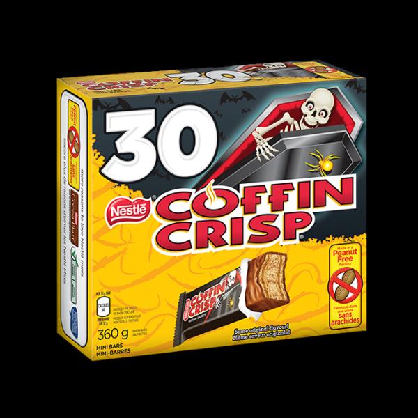 Mini chocolat COFFIN CRISP, 30 unités avec emballages prêts pour Halloween, 30 portions de 12 grammes.