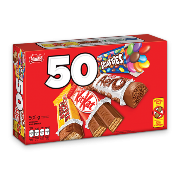 NESTLE Minis 50 count avec KIT KAT, AERO, SMARTIES et COFFEE CRISP.