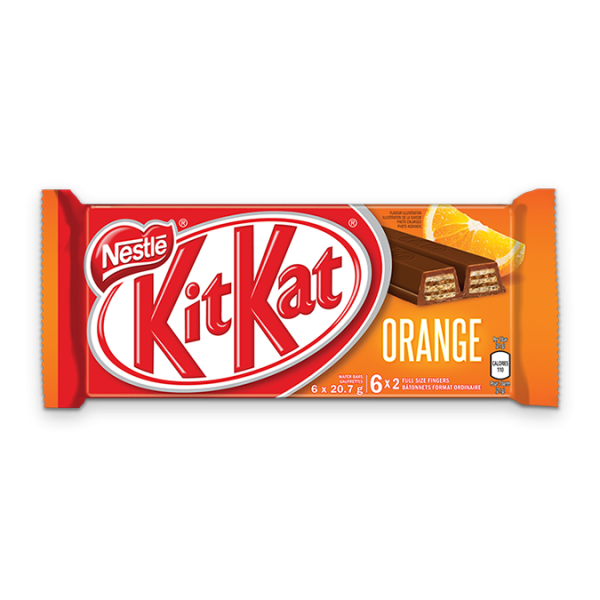 KIT KAT Chocolate Orange Bar, multipack, 6 x 20.7 grams.