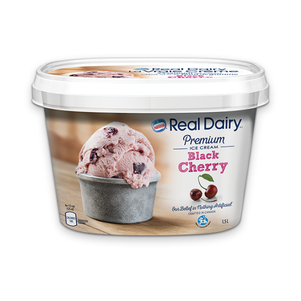REAL DAIRY Black Cherry Ice Cream, 1.5 Litre.