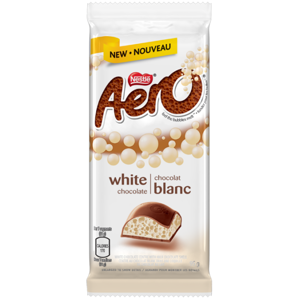 AERO White Chocolate Big Bubble Chocolate Bar, 95 grams.