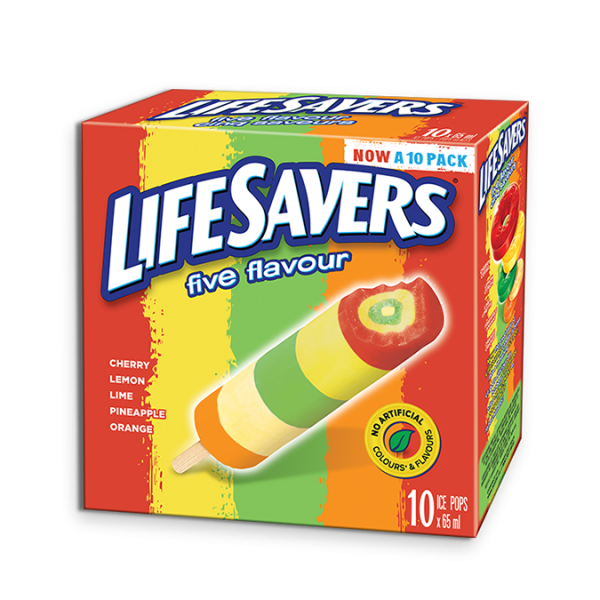 LIFESAVERS Pops, 10 x 65 ml. Cherry, Lemon, Lime, Orange and Pineapple- flavoured ice pop!