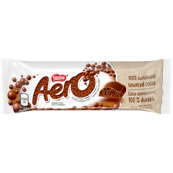 AERO Milk Chocolate Bubble Bar, 42 grams.