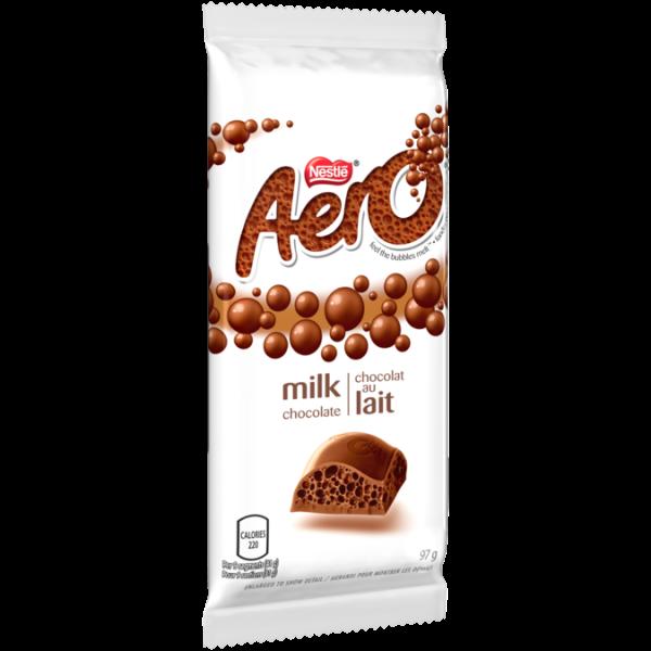 Barre de chocolat au lait AERO, 97 grammes.