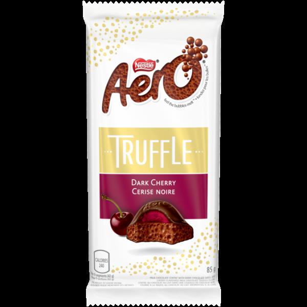 Barre de chocolat à grosses bulles AERO à la truffe de cerise noire, 85 grammes.
