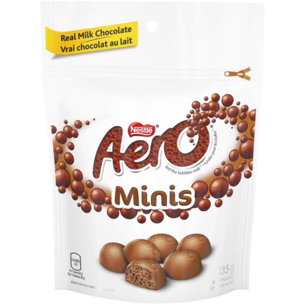 AERO Milk Chocolate Minis, resealable bag,  135 grams.