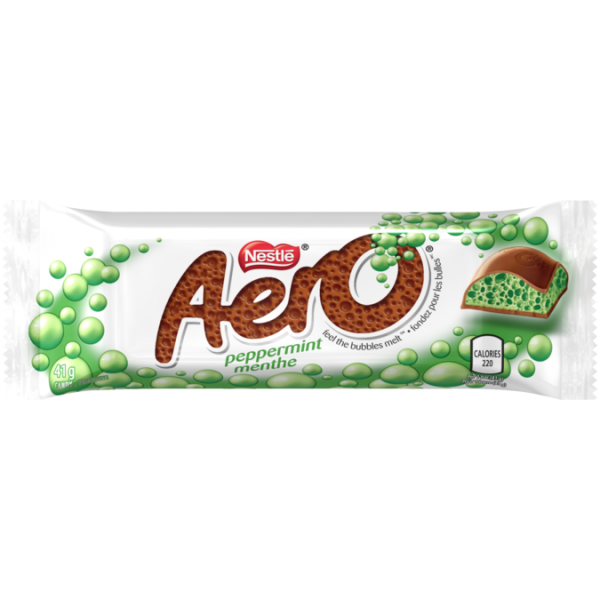 AERO Peppermint Bubble Chocolate Bar, 41 grams.