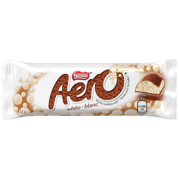 AERO White Chocolate Bar, 42 grams.