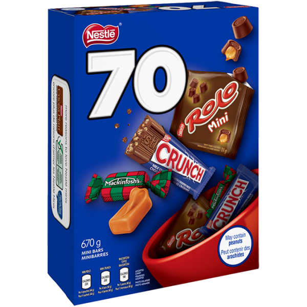 NESTLÉ assorted chocolate bars, 70 count, 670 grams.