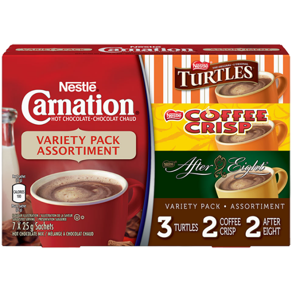 CARNATION Flavoured Hot Chocolate Powder Variety Pack, 7 x 25 g sachets.