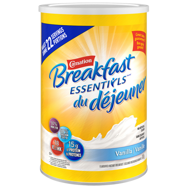 CARNATION, la poudre de vanille Breakfast Essentials, 880 grammes donne 22 portions.