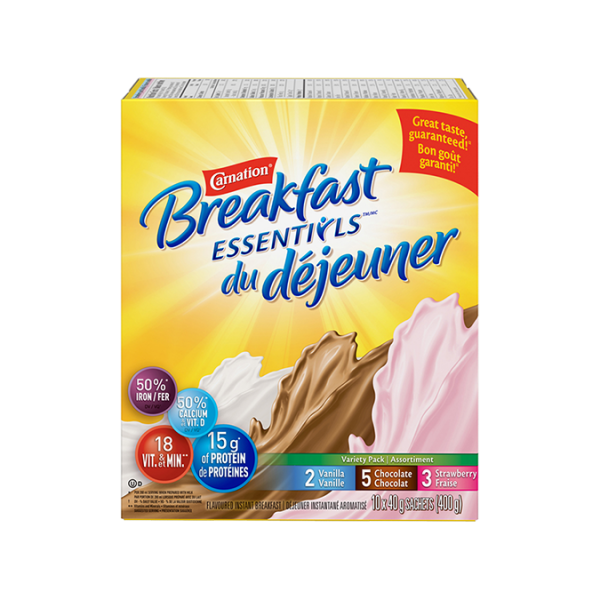 CARNATION BREAKFAST ESSENTIALS Variety Flavour Pack 10 x 40 grammes sachets
