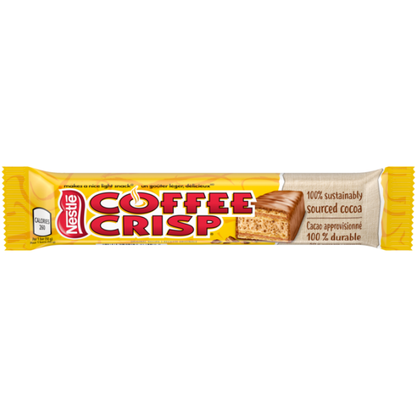 COFFEE CRISP Chocolate Bar, 50 grams.