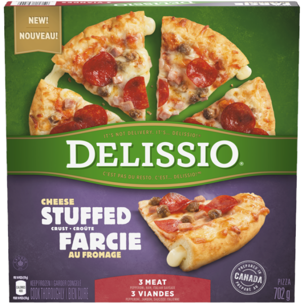 DELISSIO Stuffed Crust 3 Meat Pizza, 702 grams.