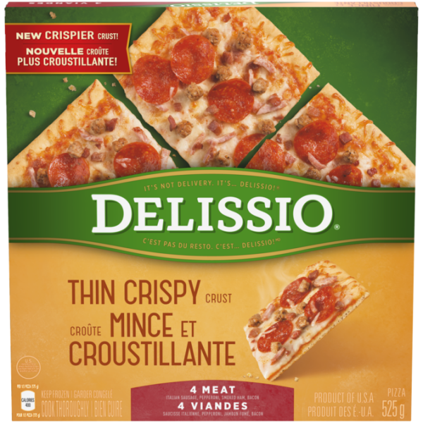 DELISSIO Thin Crispy Crust 4 Meat Pizza, 525 grams.
